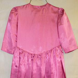 Girl's Pink Satin Dress
